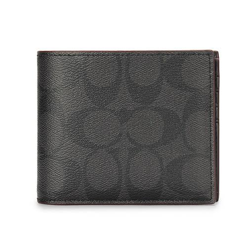 COACH 經典LOGO PVC皮革紅色滾邊多卡短夾(附可拆式證件夾)(黑灰/紅色)196174