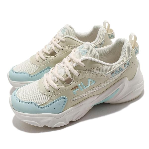 Fila 慢跑鞋 Hidden Tape 2 女鞋 米 藍 膠底 老爹鞋 運動鞋 【ACS】 5J329V166