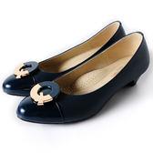 Clay Derman    時尚金屬扣飾點綴低跟鞋-藍