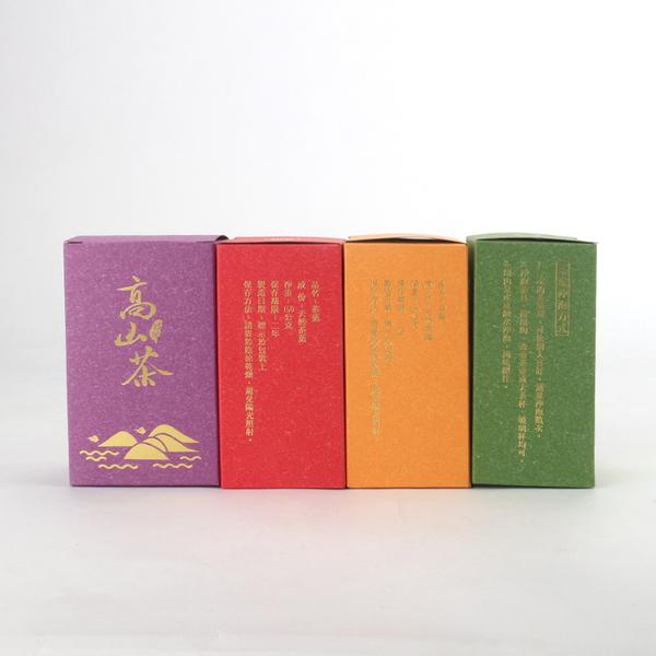 {高山茶}四兩彩烙紙盒(50入/組) 共四款顏色 茶葉 台灣茶 阿里山 高山茶 特殊設計 造型盒 包裝盒