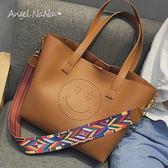 托特包-鏤空笑臉彩色織帶大容量2way子母包側背包 (SBA0231) AngelNaNa