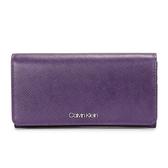CalvinKlein CK立體LOGO素面皮革長夾(紫色)103556-1