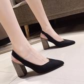 涼鞋-包頭涼鞋女粗跟高跟鞋2021夏季新款網紅尖頭百搭中跟鞋后空單鞋子