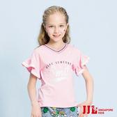 JJLKIDS 女童 活力女孩V領印花荷葉袖T恤(粉紅)