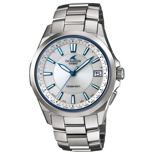 CASIO OCEANUS 質感雕琢鈦合金電波腕錶(銀白)
