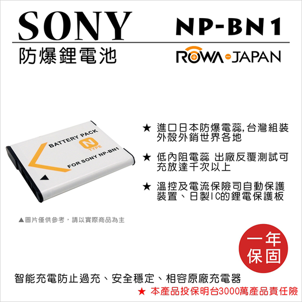 樂華 FOR SONY NP-BN1 NPBN1 電池 保固 相容 原廠 QX100 QX10 T110D TX55 TX66 TX200V TX300V