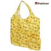 【SAS】日本限定 皮卡丘 小花英字滿版 折疊收納式 購物袋 / 環保袋 /手提袋 (黃色)
