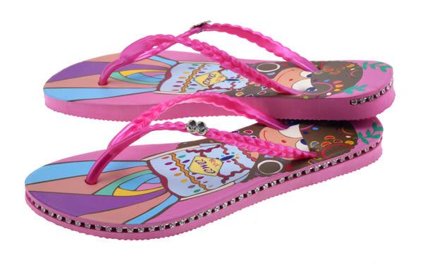QWQ創意鞋- 樹芽女孩 施華洛世奇水鑽夾腳人字拖鞋-粉 (奇幻世界系列 )