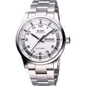 MIDO 美度 Multifort Gent 時尚機械手錶-銀白 M0054301103200