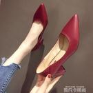 法式少女小清新紅色高跟鞋2020年新款粗跟網紅百搭尖頭夏復古單鞋 依凡卡時尚