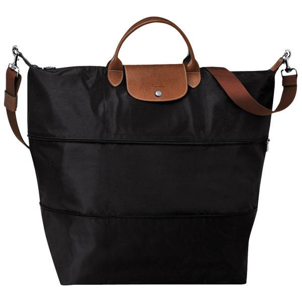 Longchamp  旅行袋  (伸縮款附背帶) 手提/肩背 ~ (黑色) ~ 現貨特價  旅行袋(超大大款)