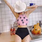 正韓新款椰樹印花肚兜綁帶式高腰比基尼顯瘦可愛分體度假溫泉泳衣