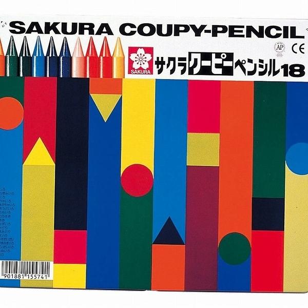 【日本製】【SAKURA】COUPY-PENCIL 不髒手彩色蠟筆 18色(一組:5個) SD-3700 - 日本製