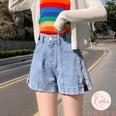 牛仔短褲女高腰夏薄款寬松高腰顯瘦外穿闊腿褲【大碼百分百】