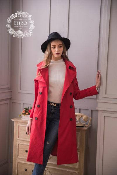 【EIIZO】英倫風挺版長版風衣外套(紅)