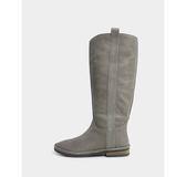 真皮長靴-R&BB牛皮*簡約百搭隨興感復古擦色平底低跟靴-灰色
