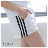 Catworld CHARMING GIRL。側條紋防走光雙層運動短褲【14001135】‧S/M/L/XL
