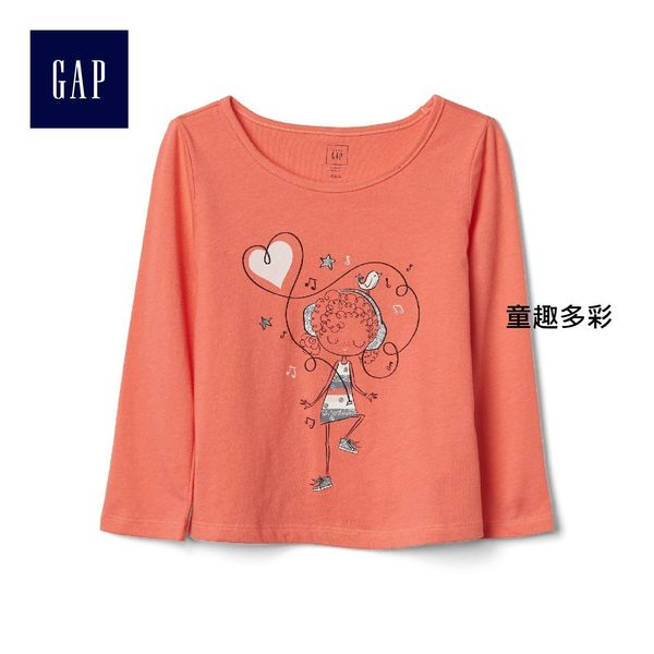 Gap女嬰幼童 舒適時尚綴飾圖案長袖T恤 851514-童趣多彩