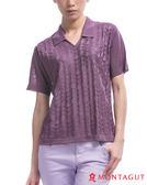 夢特嬌短袖POLO 亮絲系列女款衫時尚蝴蝶印花-紫色