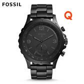 FOSSIL Q NATE黑色不鏽鋼指針式智慧手錶 男 FTW1115
