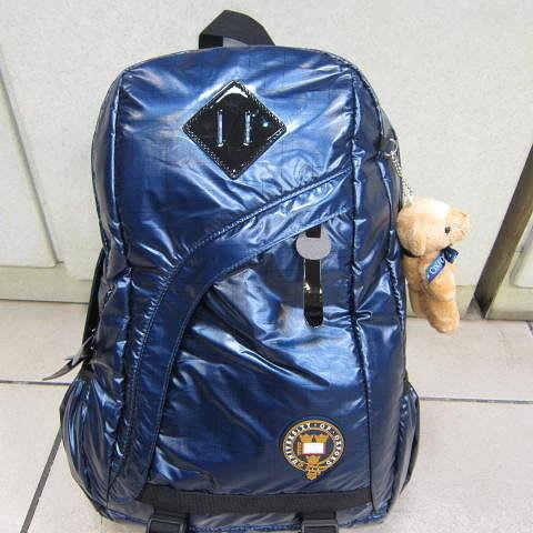 ~雪黛屋~英國 牛津大學 學院風格15L平板電腦後背包多功能後背包超輕PU防水尼龍布OX092深藍