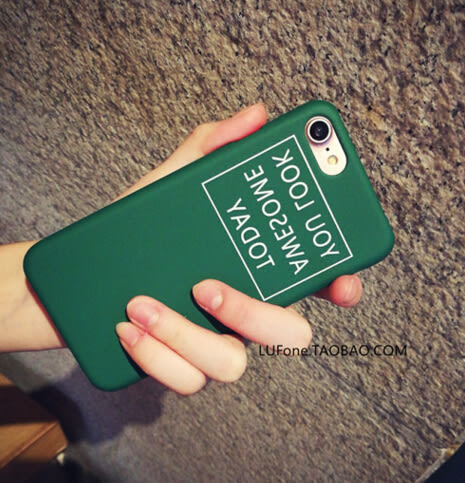 【SZ】iPhone 7/8 手機殼 半包邊 墨綠反字母 磨砂硬殼 iPhone 5/6/6s plus/7 plus 保護殼