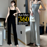 克妹Ke-Mei【ZT59721】韓國ulzzang氣質彈力皺皺抹胸吊帶闊腿褲裝