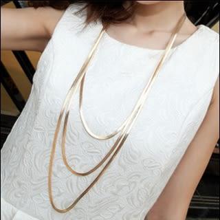項鍊 夜店女王歐美范金屬蛇骨三層多層配飾長款項鍊毛衣鍊女氣質裝飾鍊