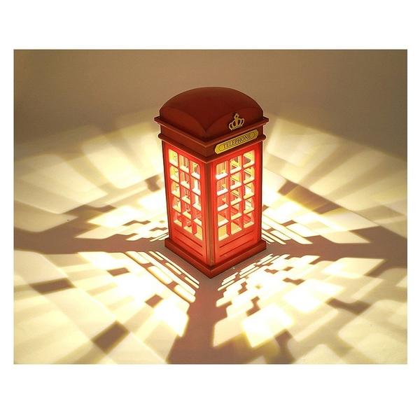 ※英倫風 電話亭LED燈 (2入) 充電式 檯燈 觸控燈 復古 桌燈 書桌燈 護眼燈 小夜燈 床頭燈 氣氛 裝飾
