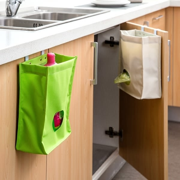 Qmishop 廚房櫥櫃門背式垃圾袋收納袋 垃圾袋抽取袋【J1786】