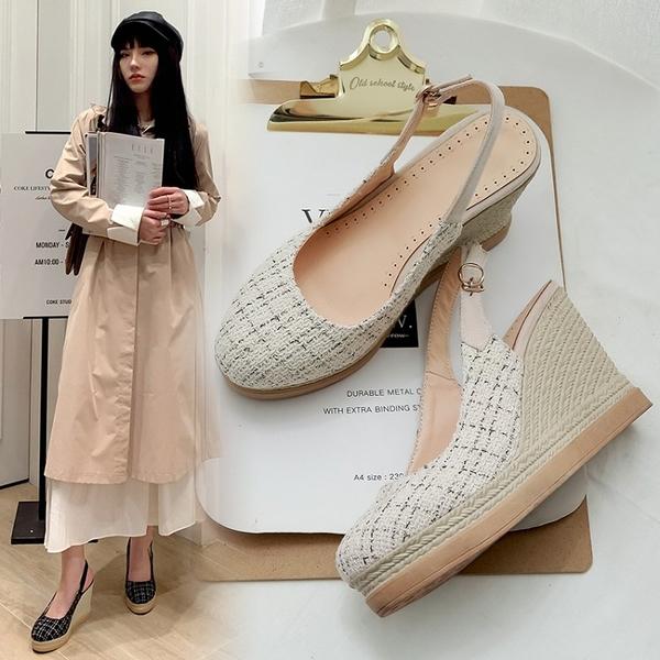 大尺碼女鞋34~44 2020小香風編織布厚底涼拖鞋楔形鞋~2色