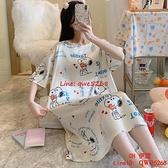 可愛冰絲睡裙女夏季薄款睡衣寬松加大碼胖mm200斤孕婦家居服【CH伊諾】