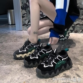 鬆糕鞋女潮冬季加絨波浪厚底鬆糕運動鞋春季特賣