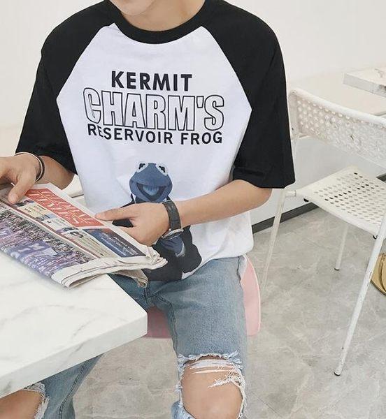 找到自己MD韓國潮男時尚休閒寬鬆五分袖卡通青蛙圖案短袖T恤特色短T圖案T