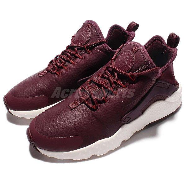 【六折特賣】Nike 武士鞋 Wmns Air Huarache Run Ultra PRM 酒紅 白 皮革 女鞋【PUMP306】 859511-600