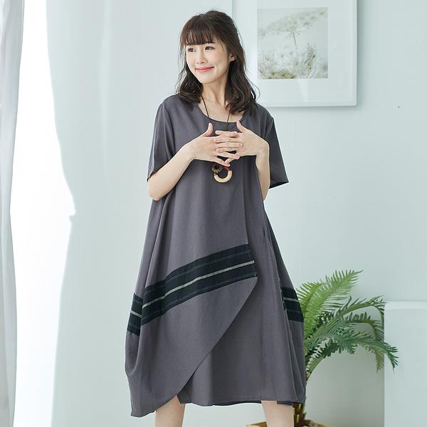 【慢。生活】雙層設計撞色連身裙-F 50812 FREE灰色