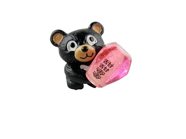【收藏天地】台灣紀念品*黑熊抱天燈夜光冰箱貼-粉