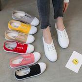 春季新款白色帆布鞋女一腳蹬懶人鞋平底小白鞋學生韓版百搭休閒鞋  晴光小語