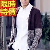 男款毛衣外套美麗諾羊毛-明星同款修身撞色男開襟針織衫3色64k8[巴黎精品]