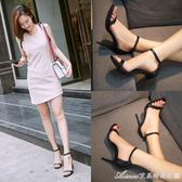 一字扣涼鞋女夏季新款細跟露趾百搭黑色真皮性感小清新高跟鞋