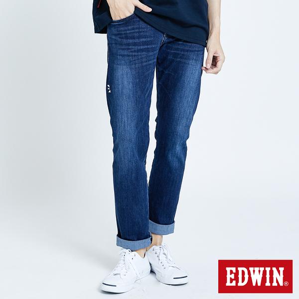 EDWIN E-FUNCTION 無接縫小直筒牛仔褲-男款 拔洗藍