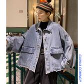 牛仔外套 初秋韓版百搭復古港味原宿外套女寬松bf風牛仔上衣工裝夾克ins潮