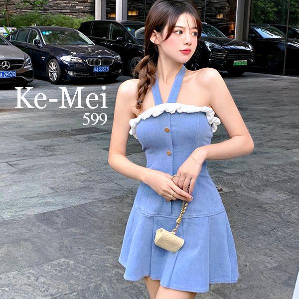 克妹Ke-Mei【ZT69409】Goddess小魔女性感蕾絲V字吊頸收腰牛仔洋裝