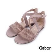 德國GABOR 水鑽雙寬帶繞踝皮革涼鞋 粉 81.601.14 女鞋