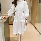簡約風腰部繫帶襯衫洋裝 CC KOREA ~ Q17666