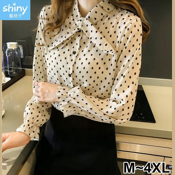【V2789】shiny藍格子-秋薰芳恬‧圓波點點蝴蝶結長袖襯衫上衣