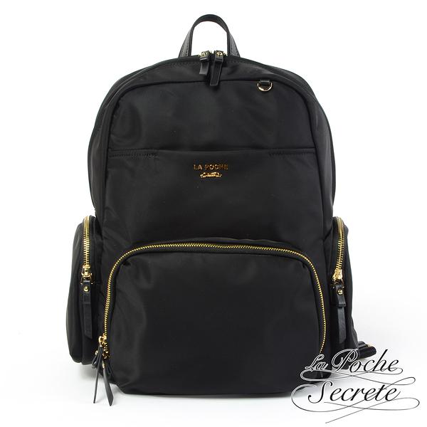 La Poche Secrete後背包 輕盈時尚多口袋雙層後背包-百搭黑 YB-3654