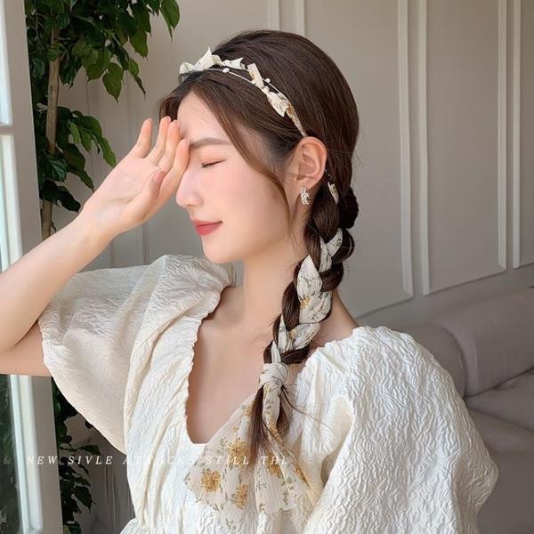 碎花發箍飄帶夏季薄款珍珠頭箍絲巾發帶綁發絲帶發卡仙女韓國頭飾 小時光生活館