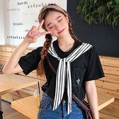 VK  服飾韓國學院風寬鬆口袋條紋海軍領T 恤短袖上衣