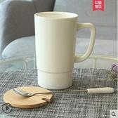 杯子陶瓷大容量馬克杯帶蓋勺簡約辦公室家用男女情侶水杯 - 風尚3C